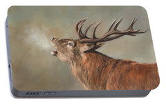 Portable Battery Charger featuring the painting Red Deer Stag by David Stribbling