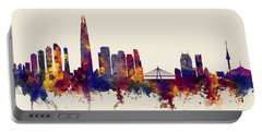 Portable Battery Charger featuring the digital art Seoul Skyline South Korea by Michael Tompsett