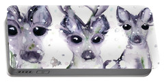 Portable Battery Charger featuring the painting 3 Snowy Deer by Dawn Derman