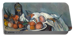 Still Life With Onions  Portable Battery Charger by Paul Cezanne