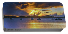Sunrise Waterscape With Clouds And Boats Portable Battery Charger