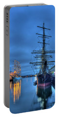 Portable Battery Charger featuring the photograph Tall Ships On Boston Harbor - Fish Pier by Joann Vitali