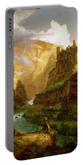 Portable Battery Charger featuring the painting The Fountain Of Vaucluse  by Thomas Cole