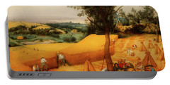 Portable Battery Charger featuring the painting The Harvesters by Pieter Bruegel The Elder