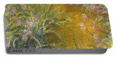 The Path Through The Irises Portable Battery Charger by Claude Monet