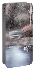 Portable Battery Charger featuring the digital art the Pond by Bonnie Willis