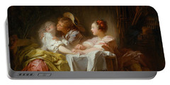 The Stolen Kiss Portable Battery Charger by Jean-Honore Fragonard