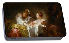 Portable Battery Charger featuring the painting The Stolen Kiss by Jean-Honore Fragonard