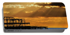 The West Pier In Brighton At Sunset Portable Battery Charger