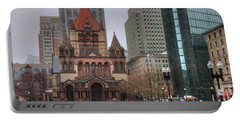 Portable Battery Charger featuring the photograph Trinity Church - Copley Square - Boston by Joann Vitali