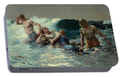 Portable Battery Charger featuring the painting Undertow by Winslow Homer