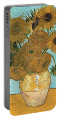 Portable Battery Charger featuring the painting Vase With Twelve Sunflowers by Vincent Van Gogh