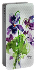 Portable Battery Charger featuring the painting Violet by Kovacs Anna Brigitta