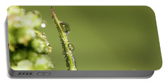 Water Drops On The Grass Portable Battery Charger