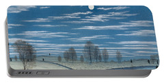 Winter Scene In Moonlight Portable Battery Charger