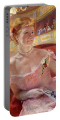 Woman With A Pearl Necklace In A Loge Portable Battery Charger