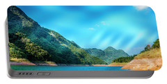 The Mountains And Reservoir Scenery With Blue Sky Portable Battery Charger