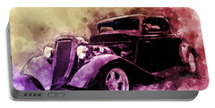 34 Ford Three Window Coupe Pen And Ink Watercolour Portable Battery Charger