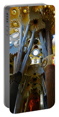 Artistic Achitecture Within The Sagrada Familia In Barcelona Portable Battery Charger by Richard Rosenshein