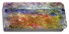 39a Abstract Landscape Sunset Over Wildflower Meadow Portable Battery Charger