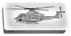 Portable Battery Charger featuring the digital art Bell Helicopter Uh-1y Venom by Arthur Eggers