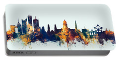 Portable Battery Charger featuring the digital art Brussels Belgium Skyline by Michael Tompsett