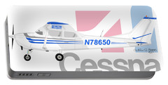 Portable Battery Charger featuring the digital art Cessna O-2 Skymaster by Arthur Eggers
