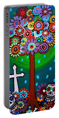 Portable Battery Charger featuring the painting Day Of The Dead by Pristine Cartera Turkus