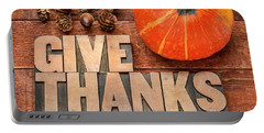 give thanks - Thanksgiving concept  Portable Battery Charger