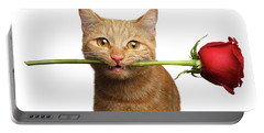 Portrait Of Ginger Cat Brought Rose As A Gift Portable Battery Charger by Sergey Taran