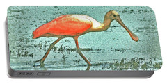 Portable Battery Charger featuring the digital art 4- Roseate Spoonbill by Joseph Keane