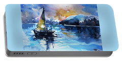 Portable Battery Charger featuring the painting Sailboat by Kovacs Anna Brigitta