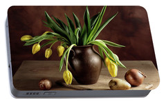Still Life With Tulips Portable Battery Charger by Nailia Schwarz