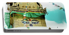 Portable Battery Charger featuring the photograph Swayambhunath Stupa In Nepal by Raimond Klavins