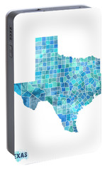 Texas Watercolor Map Portable Battery Charger by Michael Tompsett