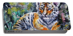 Portable Battery Charger featuring the painting Tiger Cub by Kovacs Anna Brigitta