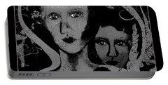 Portable Battery Charger featuring the digital art 450 - Get Off My Back 2017 by Irmgard Schoendorf Welch