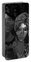 Portable Battery Charger featuring the digital art 452 - Secrets Of Friendship by Irmgard Schoendorf Welch