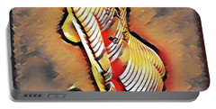Portable Battery Charger featuring the digital art 4670-jg Side View Zebra Striped Nude Rendered In The Style Of Francis Picabia  by Chris Maher