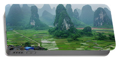 The Beautiful Karst Rural Scenery In Spring Portable Battery Charger