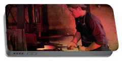 Portable Battery Charger featuring the photograph 4th Generation Blacksmith, Miki City Japan by Perry Rodriguez