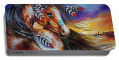 5 Feathers Indian War Horse Portable Battery Charger