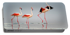 Greater Flamingos Phoenicopterus Roseus Portable Battery Charger by Panoramic Images
