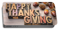 Happy Thanksgiving In Wood Type Portable Battery Charger