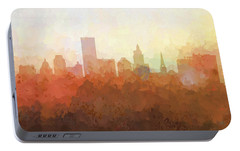 Portable Battery Charger featuring the digital art Providence Rhode Island Skyline by Marlene Watson