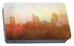 Portable Battery Charger featuring the digital art Raleigh North Carolina Skyline by Marlene Watson
