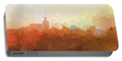 Portable Battery Charger featuring the digital art Santa Fe New Mexico Skyline by Marlene Watson