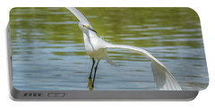 Snowy Egret Flight Portable Battery Charger by Tam Ryan