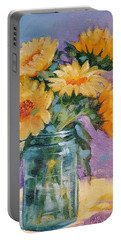 Portable Battery Charger featuring the painting 5 Sunflowers by Judy Fischer Walton