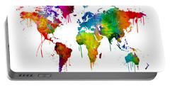 Watercolor Map Of The World Map Portable Battery Charger